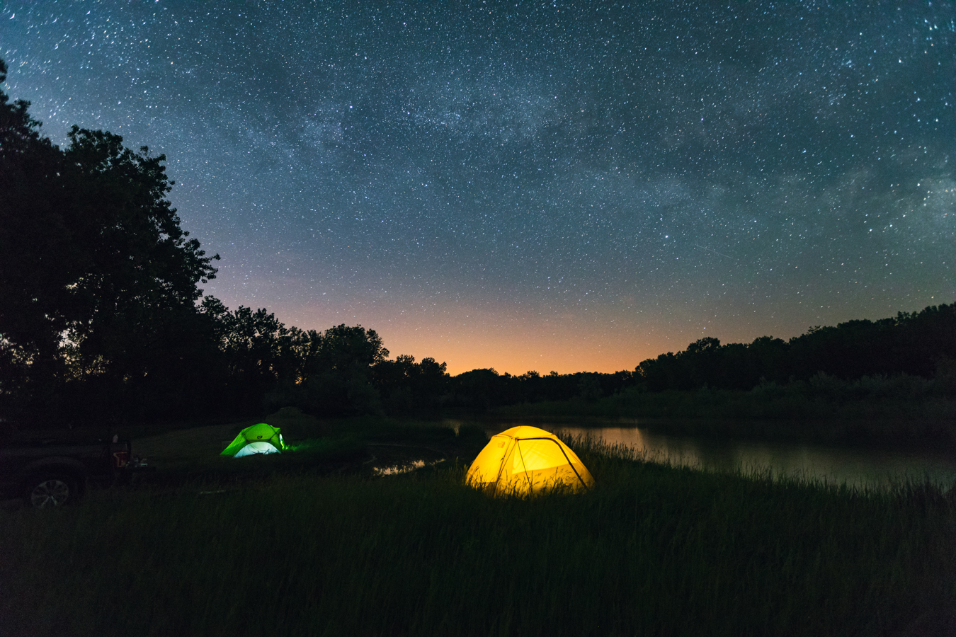 Missouri River Country Camping Yellowstone River with Stars