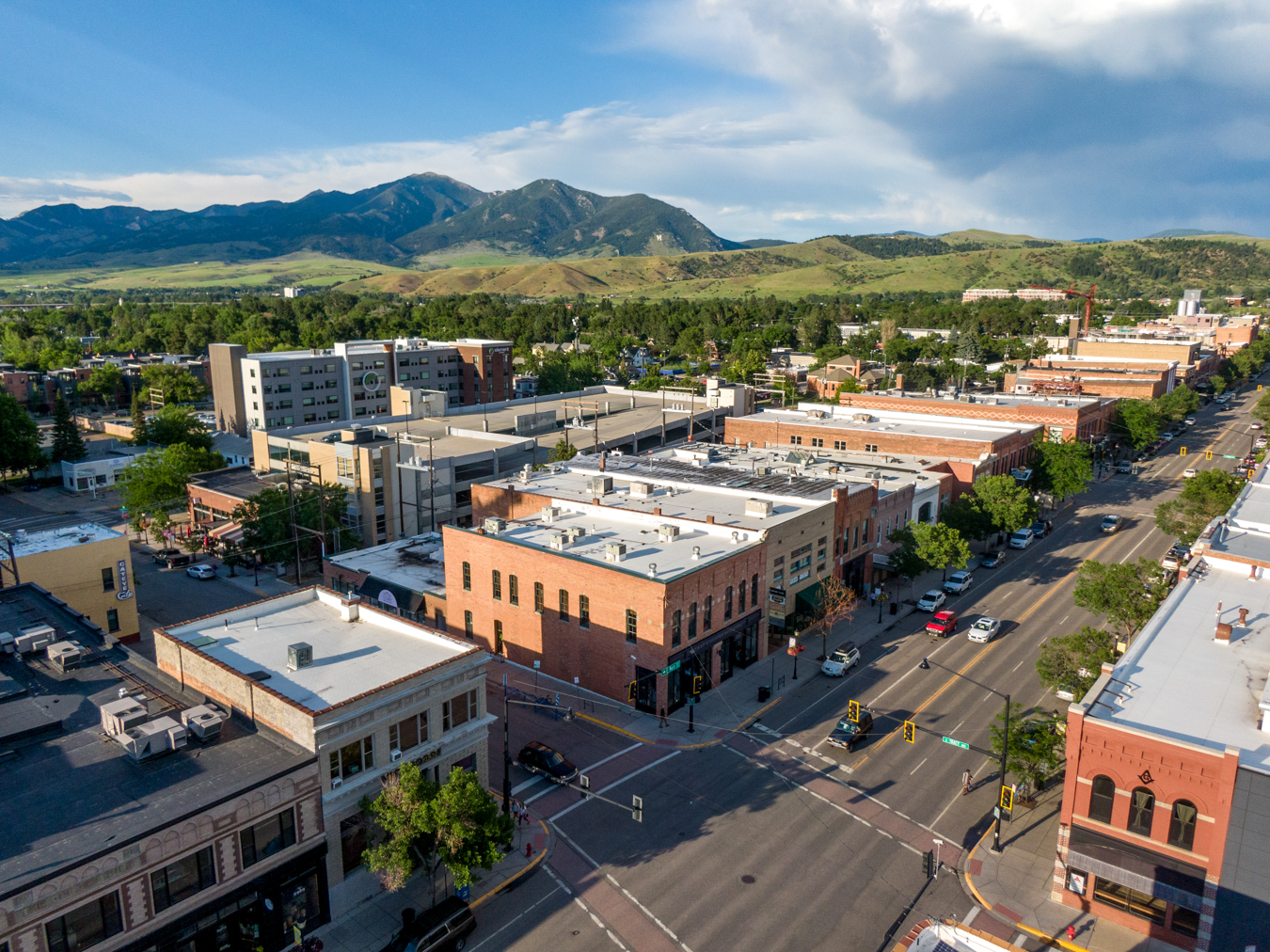 Aerial of Downtown Bozeman, Montana